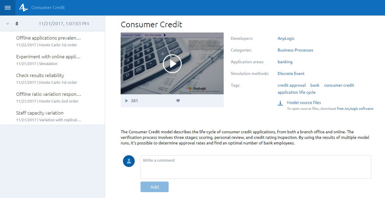 Consumer Credit model in the AnyLogic Cloud