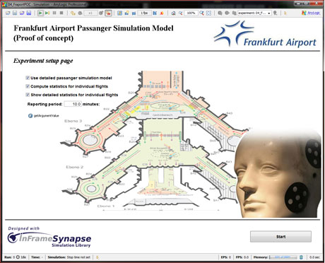 Airport Passenger Flow Simulation Model Start Screen